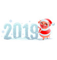 pig symbol 2019 year 2019 number made of snow vector image
