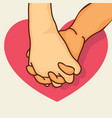 pinky promise hands with heart vector image vector image