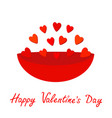 plate full red hearts gift object happy vector image