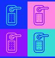 pop art line digital door lock with wireless vector image vector image