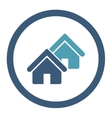 Realty flat cyan and blue colors rounded vector image