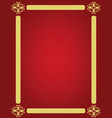 red background with golden ornament frame vector image vector image