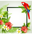 Red tropical flowers and parrot vector image vector image