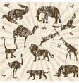 retro grunge with animals vector image