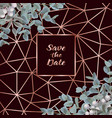 save the date card with eucalyptus vector image vector image
