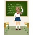 schoolgirl solving arithmetical on blackboard vector image vector image