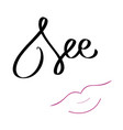 see text with lips kiss pink vector image