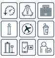 set of 9 airport icons includes resort vector image