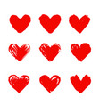 set of hand drawn hearts design element vector image vector image