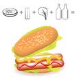 simple hotdog recipe ingredients on white backgrou vector image