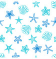 starfishes and seashells seamless pattern marine vector image