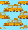 taxi pattern yellow car transportation of people vector image
