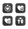 Valentine day icons Love heart timer sign vector image vector image