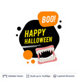 vampire teeth and halloween text vector image vector image