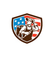 Welder Looking Side USA Flag Crest Retro vector image vector image