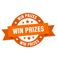win prizes ribbon win prizes round orange sign vector image vector image