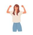 winning gesture happy confident woman vector image