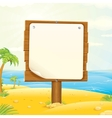 wooden sign with blank paper on tropical beach vector image vector image