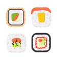 yummy colored sushi rolls icon set vector image
