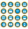 street food truck icons blue circle set vector image