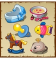 Big set of toys for kids food and things vector image