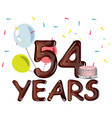 54 years anniversary invitation card vector image vector image