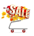 Autumn Sale Shopping Cart vector image vector image