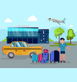 boy with luggage stands next to taxi car near vector image vector image