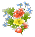 bunch a flowers and green leafs vector image vector image