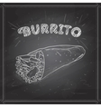 Burrito scetch on a black board vector image vector image