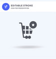 cart icon filled flat sign solid vector image vector image