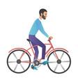 cartoon style man riding on vector image
