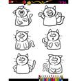 cats emotion set cartoon coloring book vector image vector image