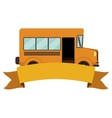 Colorful silhouette school bus with ribbon