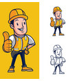 construction worker mascot vector image vector image