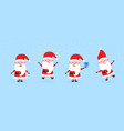 cute santa clauses with big ears and nose set on vector image