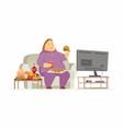 fat woman watching tv - cartoon people character vector image