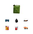 flat icon oil set of jerrycan petrol fuel vector image vector image