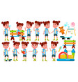 girl kindergarten kid poses set happy vector image vector image