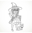 Girl nerd wearing glasses and a suit witch tells vector image vector image