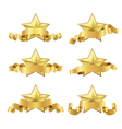 gold five star ribbon vector image vector image
