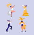 group of dancers isolated icon vector image