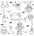Halloween character ghost zombie in doodle vector image vector image