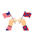 hand holds the flag of the united states vector image vector image