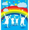 happy kid silhouettes vector image vector image