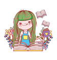 happy little girl reading book in the garden vector image vector image