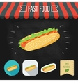 Hot Dog icon on a chalkboard Set of icons and eco vector image
