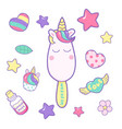 kawaii funny ice cream with unicorn horn ears and vector image vector image