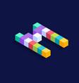 letter m isometric colorful cubes 3d design