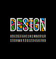 linear style colorful font vector image vector image